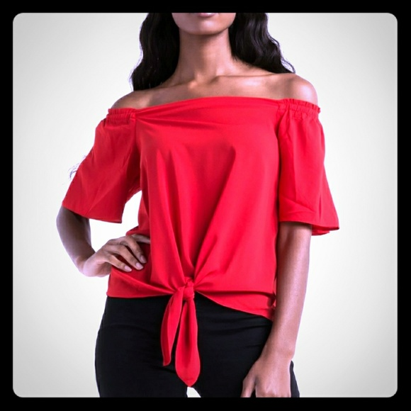 6e50a36769 AKIRA Tops | Cherry Red Off Shoulder Tie Front Top | Poshmark